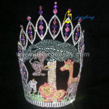 Customized for Sweet Bear Rhinestone Pageant Crowns Animal Crystal Round Happy Birthday Crown supply to St. Pierre and Miquelon Factory