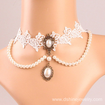 White Lace Choker With Pearl Tassel Bridal Jewellery
