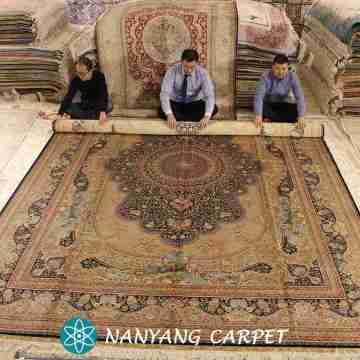 10'x14' Hand Knotted Silk Iranian Qum Carpet