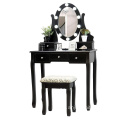LED Lights black Fineboard Mirrored Dressing Table