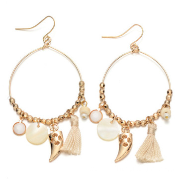 Unique Jewelry Gold Plated Beaded Tassel Hoop Earrings