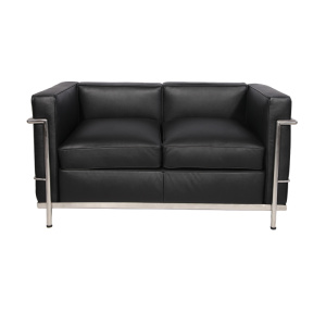 China supplier OEM for Office Sofa With Stainless Steel Base Replica leather Le corbusier LC2 loveseat supply to South Korea Exporter