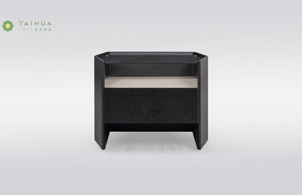Glass Top Solid Wood Night Stand