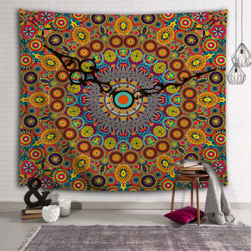 Bohemian Tapestry Mandala Wall Hanging Indian Boho Pointer Hippie Yellow Wall Tapestry for Livingroom Bedroom Home Dorm Decor