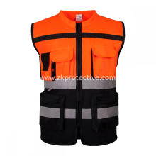 Hi-vis multi-functional pockets reflective jacket