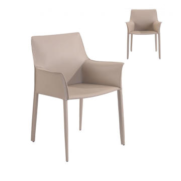 Beige Low Back PU Dining Chair na may Armrest