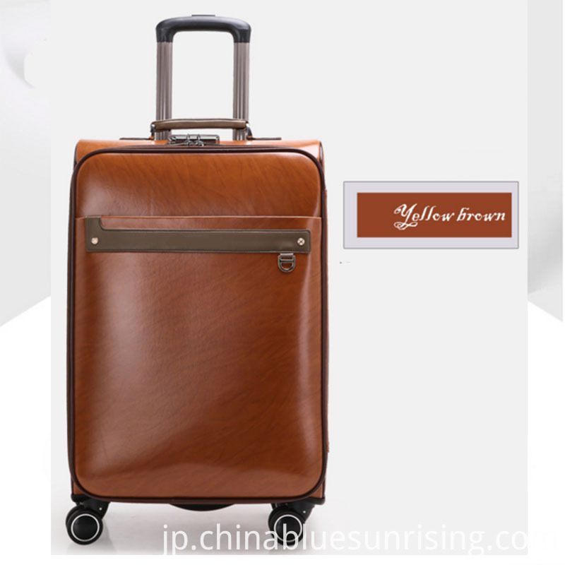 Yellow brown pu luggage