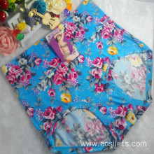 OEM wholesale high rate stylish sky blue printed female underwear sexy plus size lace fancy panty 6682