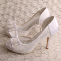 Bow High Heels Platform Pumps White Lace