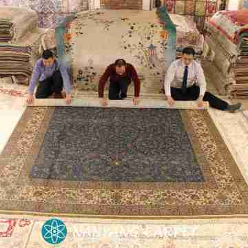 9.25'x12.25' Handmade Silk Carpet Qum  Rug Persian