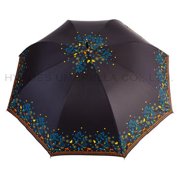 Women's Flower Print Auto Open Straight Umbrella