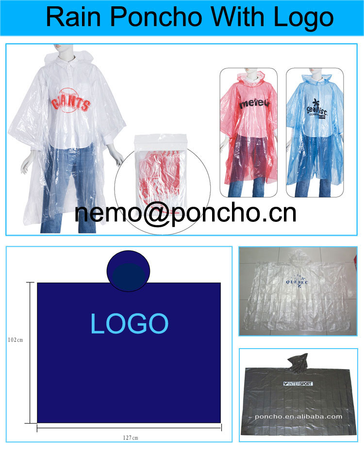 disposable poncho with Logo
