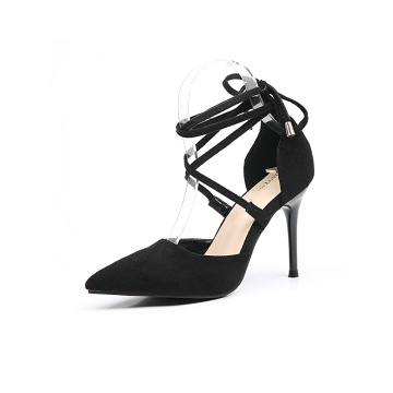 Women's Black Lace-up High Heeled Pumps