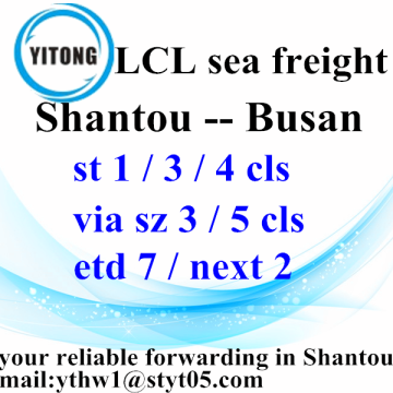 LCL Sea Freight Agent From Shantou to Busan