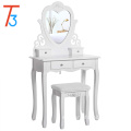 Dressing Table Set with Stool and Heart shape Mirror Makeup Desk 4 Drawers Vanity Furniture bedroom White