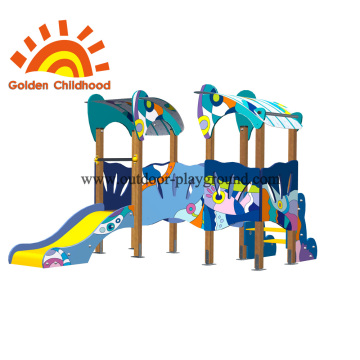 Double Colourful Outdoor Playground Facility For Children