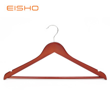 Hot sale for Wood Clothes Hangers EISHO Brown Flat Wood Suit Hangers With Bar export to United States Factories