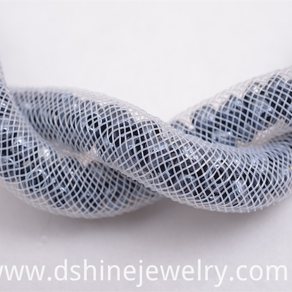 Nylon Mesh Crystal Beads Collar Necklace