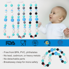 High Quality for Necklace For Baby Teething Food grade silicone baby teething beaded necklace supply to Japan Factories