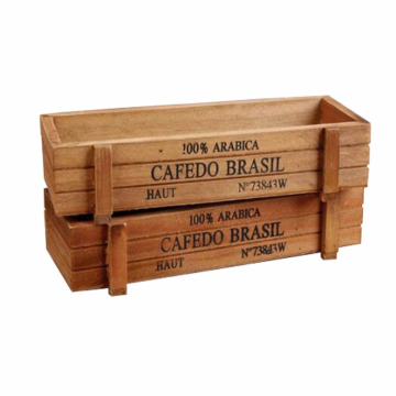 2 PCS Rustic Rectangular Wooden Planter Plant Container Box