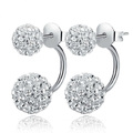 Silver Crystal Disco Ball Shamballa Stud Earrings for Women