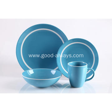 16 Piece Stoneware Dinner Set Blue Color With White Rim