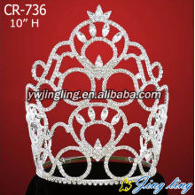 Holiday sales for Gold Pageant Crowns Large rhinestone wholesale crowns CR-736 supply to Iran (Islamic Republic of) Factory