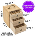 Holds 75 Bottles Roller Balls 3 Tier Space Saver Essential oil Wooden Storage Case With Handle