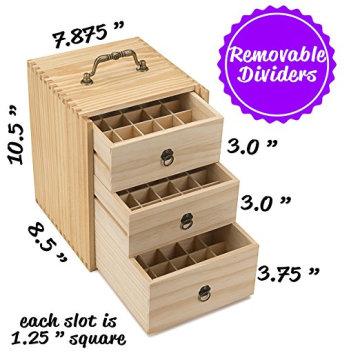 Professional for Wooden Organizer Box Holds 75 Bottles Roller Balls 3 Tier Space Saver Essential oil Wooden Storage Case With Handle supply to Senegal Wholesale