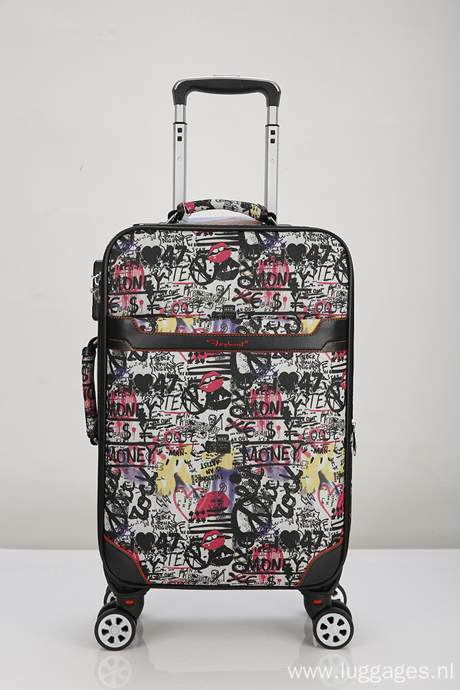 Colorful Pattern Printed Rolling Luggage