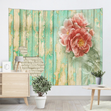 Vintage Planks with Pink Flower Tapestry Wall Hanging Vertical Striped Wooden Board Green Spring Wall Tapestry for Livingroom Be