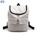 Fashionable lady traveling canvas backpack