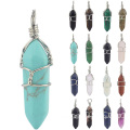 Crystal Necklace Pendant Quartz Stone Silver Wire Wrapped