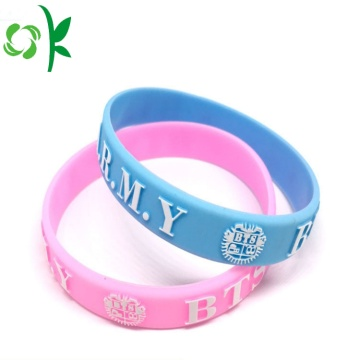 Newest Promotional Embossed Popular Pink Silicone Bracelets