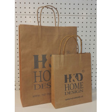 China for Natural Brown Kraft Paper Bag Kraft Paper Shopping Bags With Handle supply to Reunion Supplier