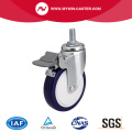 Zinc 4 inch 80Kg Threaded Brake TPU Caster