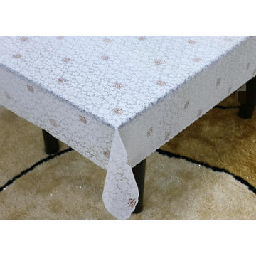 Printed pvc lace oval tablecloth by roll