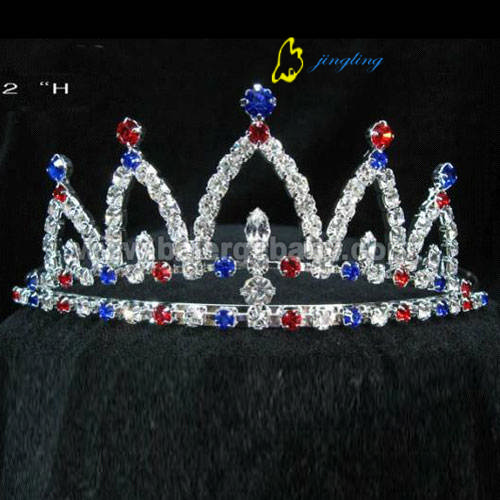 Small colored rhinestone custom patriotic crowns PC-12007