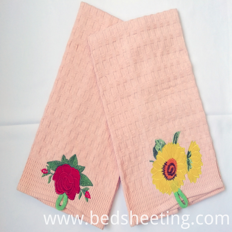 Flower Embroidery Peach Kitchen Towels