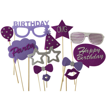 Purple birthday party photo booth props