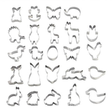 24pcs stainless steel animal shape cookie cutter set