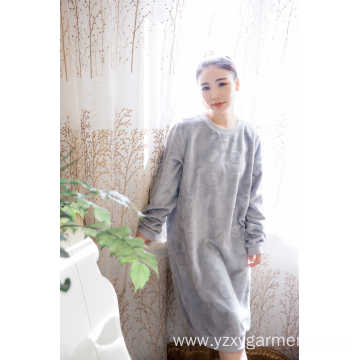 Grey cut flower coral fleece women's nightdress