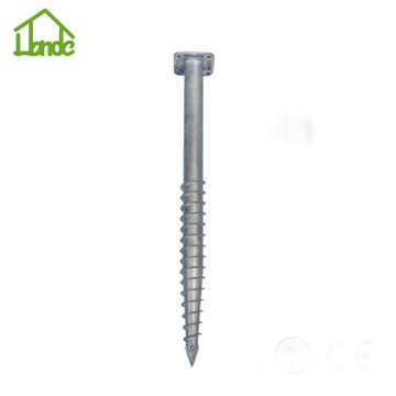 Galvanized ground screw with square flange