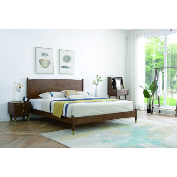 Madilim na Brown Flat Rubber Wood Headboard Bedroom