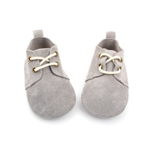 Grey Baby Suede  Leather Oxford Shoes Wholesale