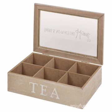 Glass Lid Wooden 6 Section Tea Bag Storage Box 6 Section Tea Bag Box Storage Holder Container with Glass Lid