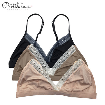 Ladies black wire free triangle lace bralette