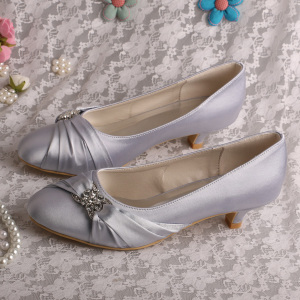 China New Product for Wedding Bridesmaid Shoes Silver Wedding Heels Closed Toe supply to Poland Wholesale