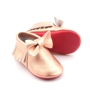 Cute Leather Soft Sole Crib Shoes with Bowknot