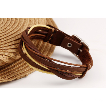 Good Quality for Leather Bracelet Charm Custom Leather Bracelets Simple Weaved Real Leather Bangle supply to Maldives Factory